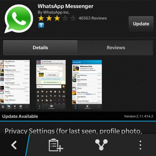 WhatsApp黑莓10版本更新,優化功能及新增黑色主題