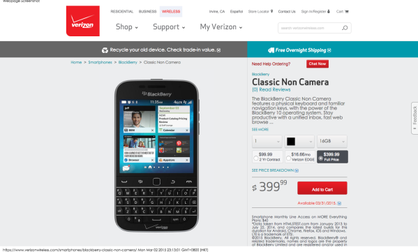 BlackBerry Classic Non Camera   Verizon Wireless