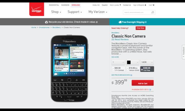 BlackBerry Classic Non Camera   Verizon Wireless