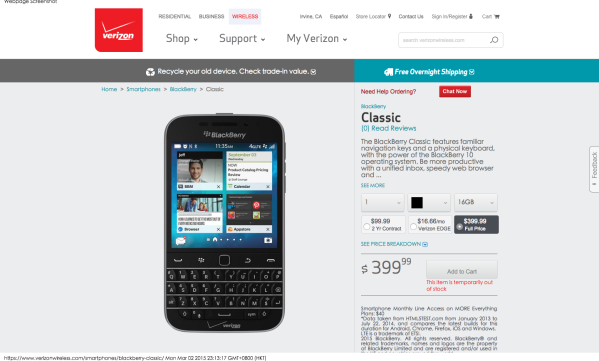 BlackBerry Classic   Verizon Wireless