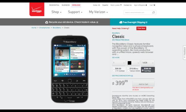 BlackBerry Classic   Verizon Wireless